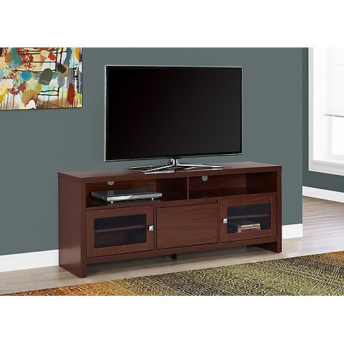 Tv Stand - 60 Inch L / Warm Cherry With Glass Doors