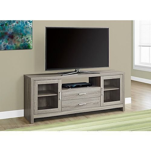 Tv Stand - 60 Inch L / Dark Taupe - Drawers / Glass Doors