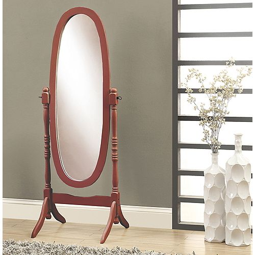 Monarch Specialties Mirror - 59 Inch H / Walnut Oval Wood Frame