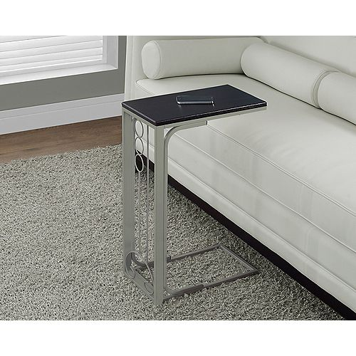 Monarch Specialties Accent Table - Cappuccino Top / Champagne Metal