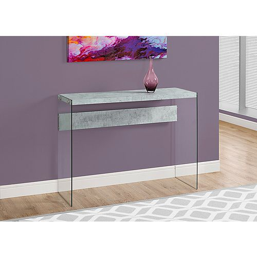 Table Console - Gris Cimente et Verre Trempe