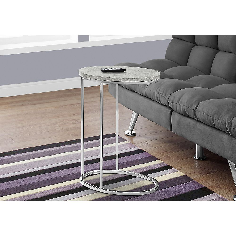 Monarch Specialties Accent Table - Oval / Grey Cement With Chrome Metal