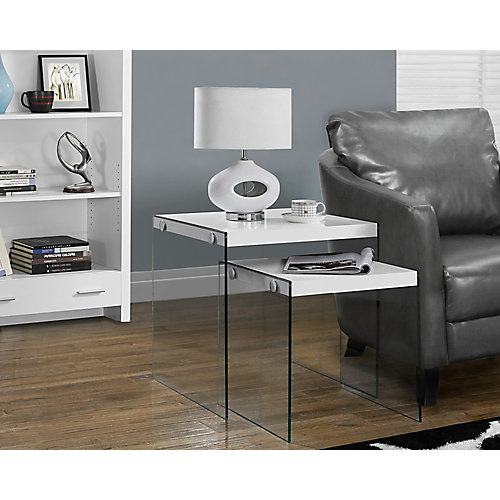 Nesting Table - 2-Piece Set / Glossy White / Tempered Glass