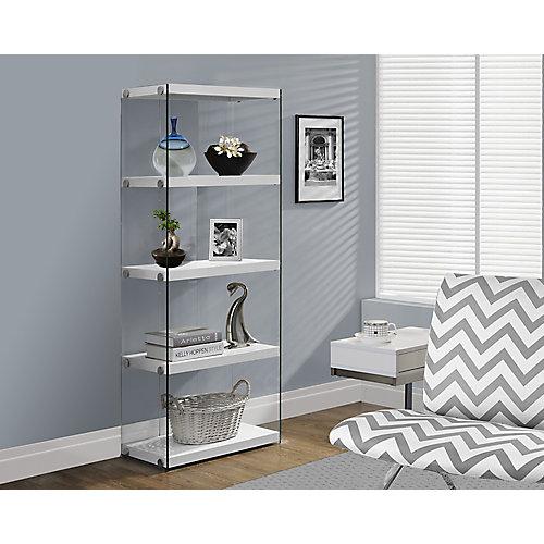 4-Shelf Manufactured Wood Bookcase in White