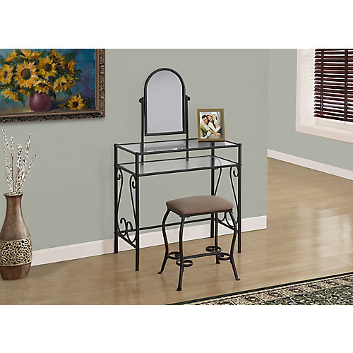 Vanity Set - 2-Piece Set / Brown Metal With Tempered Glass