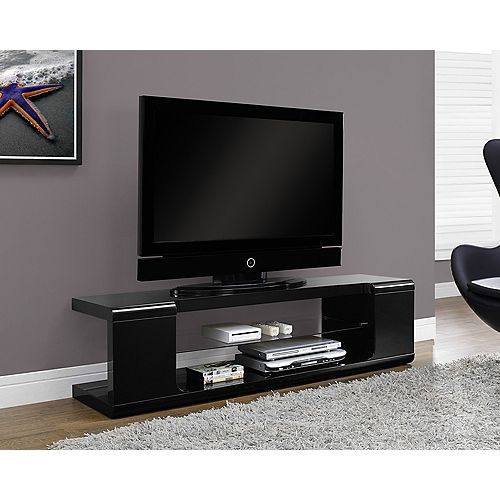 Tv Stand - 60 Inch L / High Glossy Black With Tempered Glass