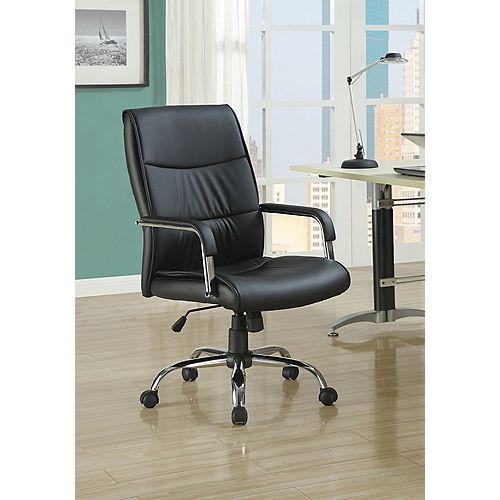 Monarch Specialties Office Chair - Black Leather-Look Fabric