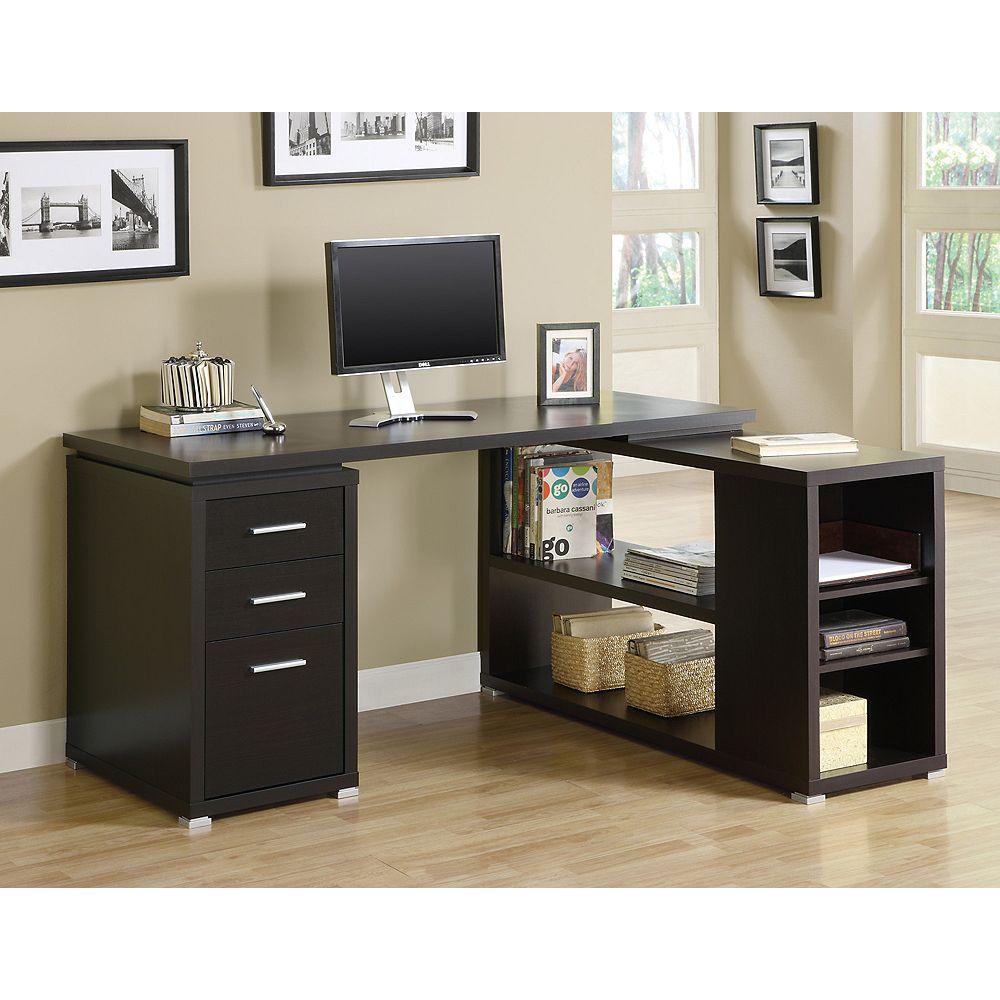 Monarch Specialties L-Shaped Computer Desk in Brown