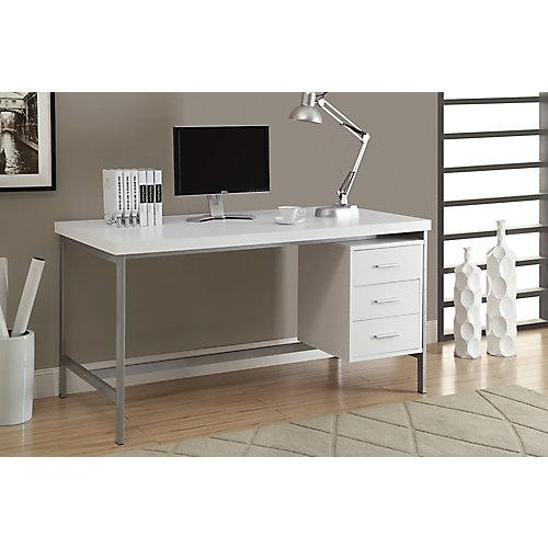 Bureau d'ordinateur standard, blanc