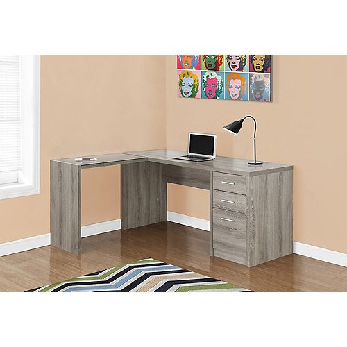 L-Shaped Computer Desk in Grey