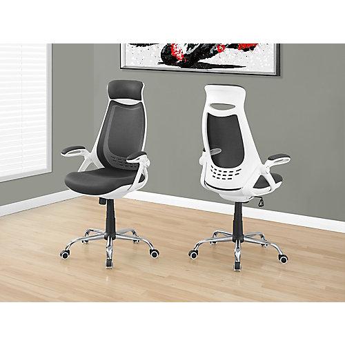 Chaise de Bureau - Blanc/Meche Gris/ Dossier-Haut Chrome