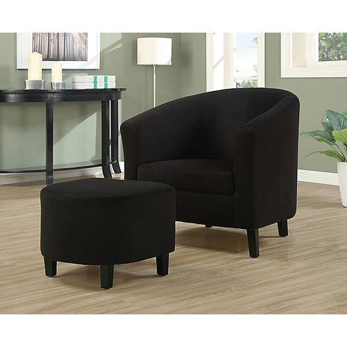 Contemporary Microfibre Accent Chair in Black with Solid Pattern