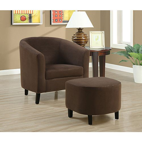 Contemporary Club Microfibre Accent Chair in Brown with Solid Pattern