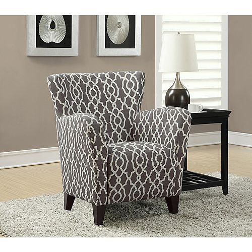Contemporary Club Cotton Accent Chair in Brown with Geometrical Pattern