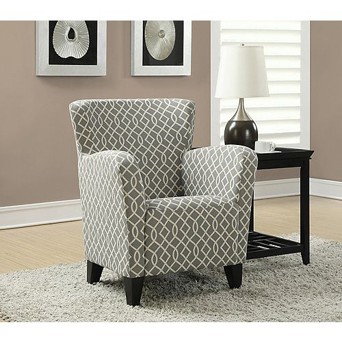 Contemporary Cotton Accent Chair in Grey