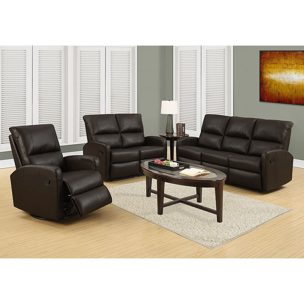 Monarch Specialties Faux Leather Recliner in Brown
