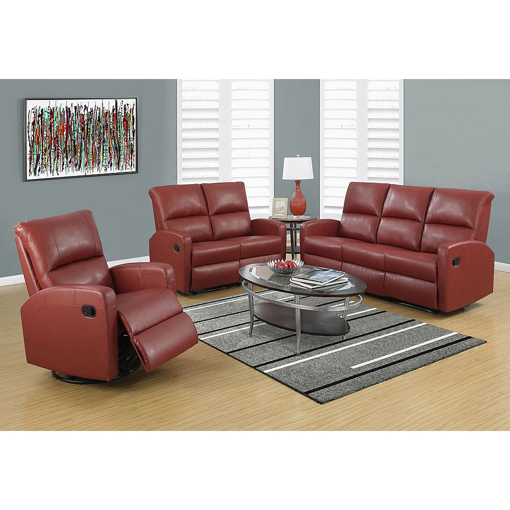 Monarch Specialties Fauteuil Inclinable - Bercant / Cuir Reconstitue Rouge