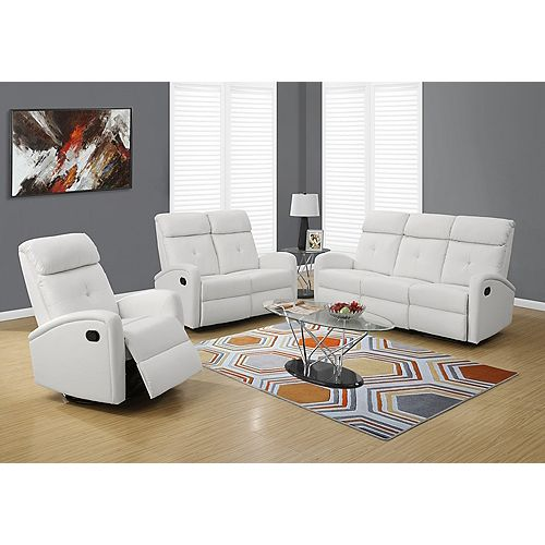 Faux Leather Recliner in White