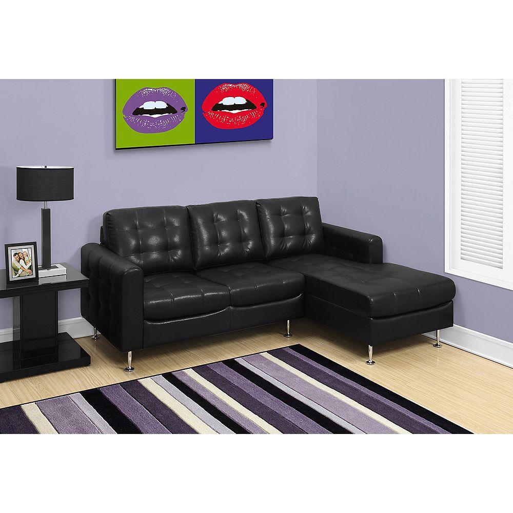 Monarch Specialties Sofa Chaise Longue - Cuir Reconstitue Noir