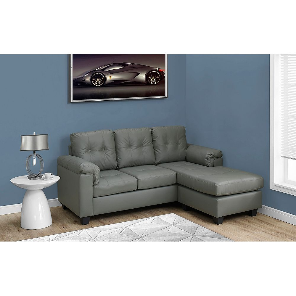 Monarch Specialties Sofa Lounger - Light Grey Bonded Leather