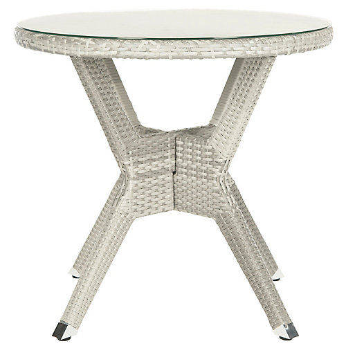 Langer Round Patio Accent Table in Grey