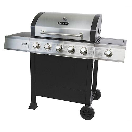 5-Burner Open Cart Propane BBQ with Side-Burner