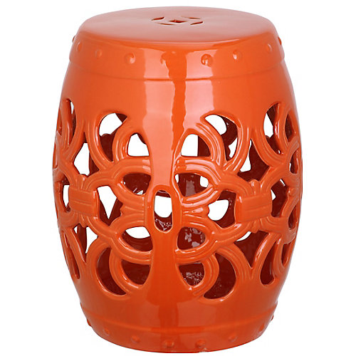 Imperial Vine Garden Stool in Orange