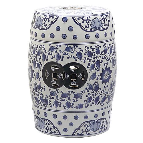 Tao Garden Stool in Blue/White