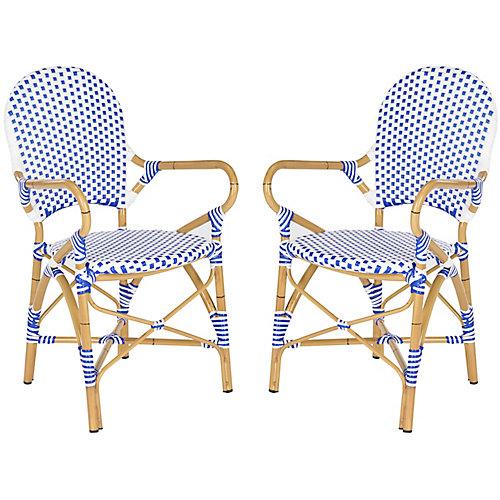 Chaise d'Appoint empilable Intérieur/Extérieur Hooper en finition Bleu / Blanc - Ensemble de 2