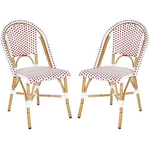 Chaise d'Appoint empilable Intérieur/Extérieur Salcha en finition Rouge / Blanc - Ensemble de 2