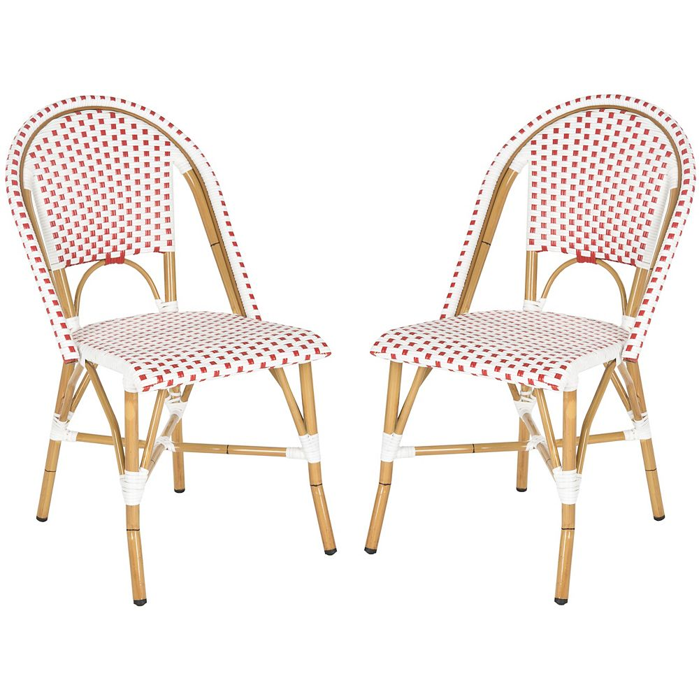 Safavieh Salcha Indoor/Outdoor Stacking Side Chair in Red/White (Set of 2)