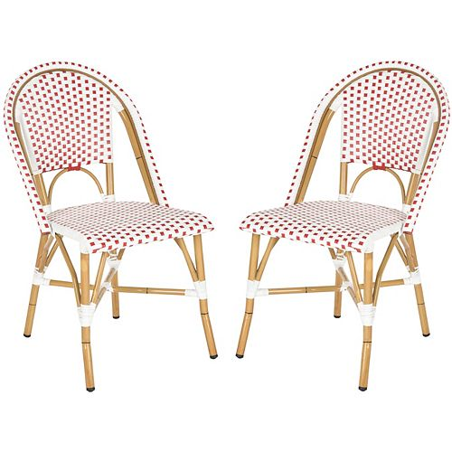 Salcha Indoor/Outdoor Stacking Side Chair in Red/White (Set of 2)