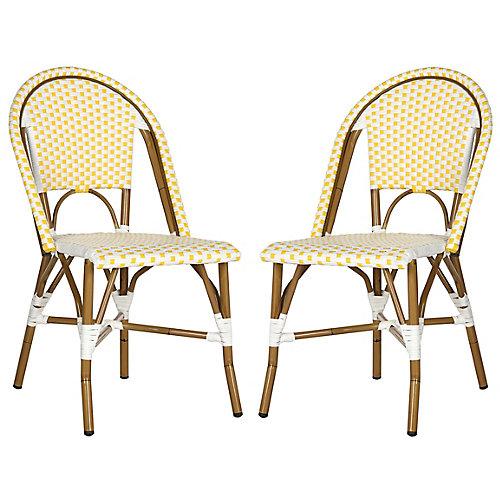 Chaise d'Appoint empilable Intérieur/Extérieur Salcha en finition Jaune / Blanc - Ensemble de 2