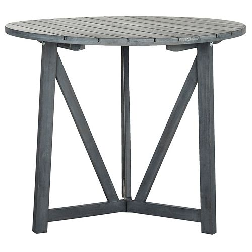 Safavieh Cloverdale Round Patio Table in Ash Grey