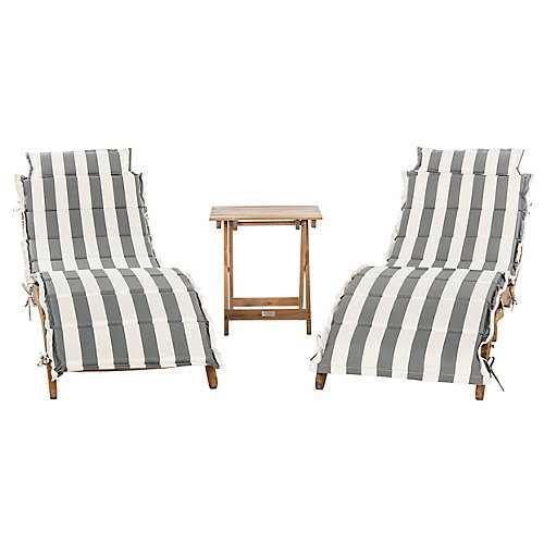 Pacifica 3-Piece Lounge Set in Teak Brown/Grey/White