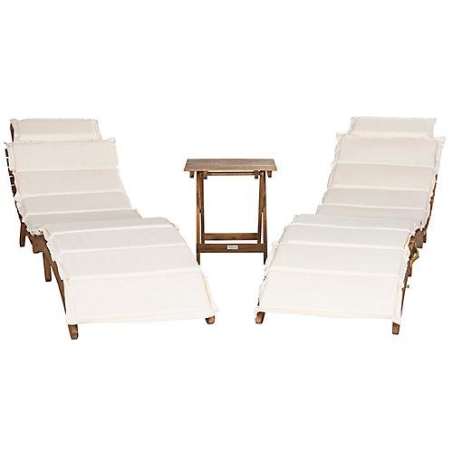 Pacifica 3-Piece Lounge Set in Teak Brown/Beige