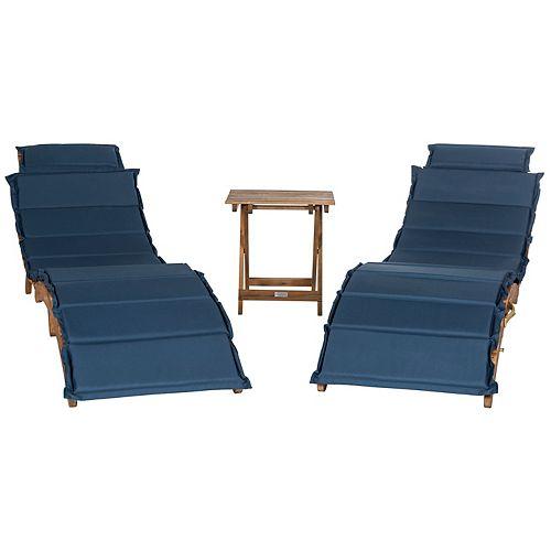 Pacifica 3-Piece Lounge Set in Teak Brown/Navy