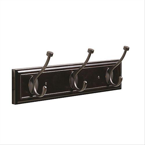 Amerock Decorative 3-Hook Rack 18 Inch (457mm) - Mahogany/Oil-Rubbed Bronze