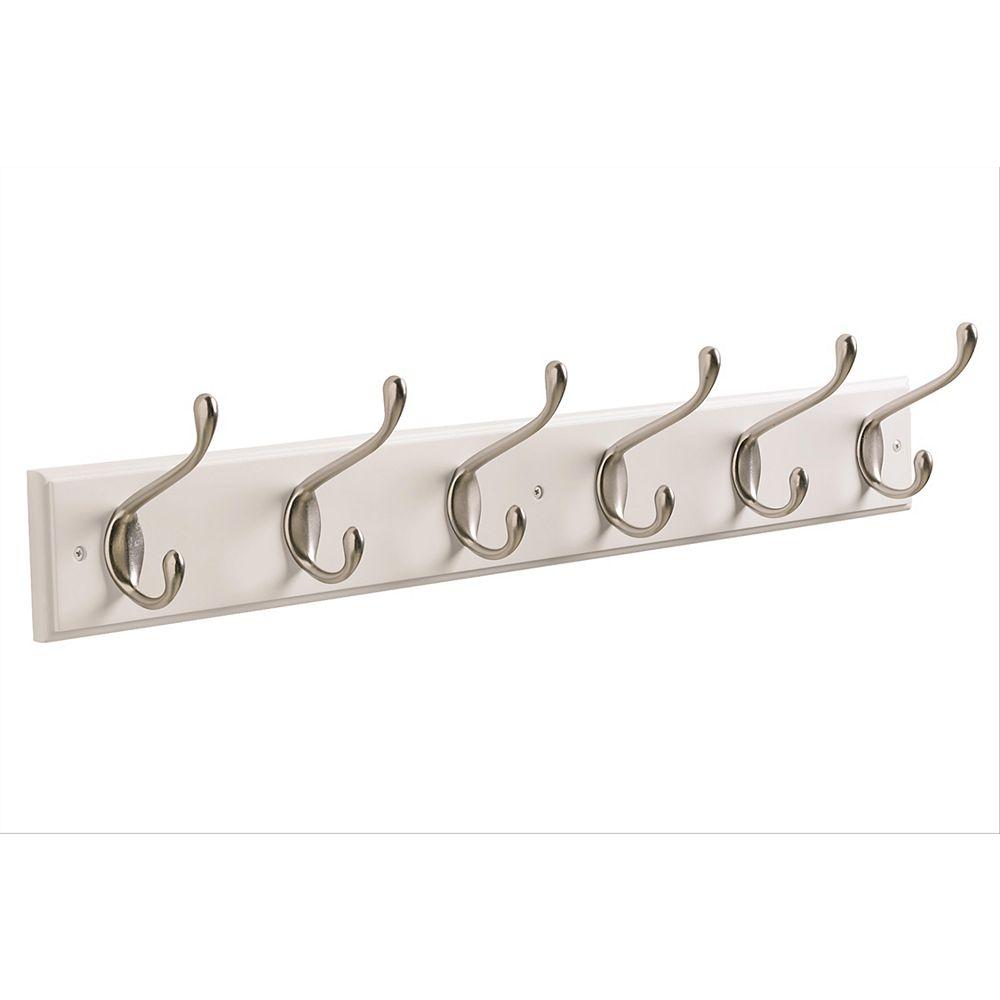 Amerock Decorative 6-Hook Rack 27 Inch (686mm) - White/Silver