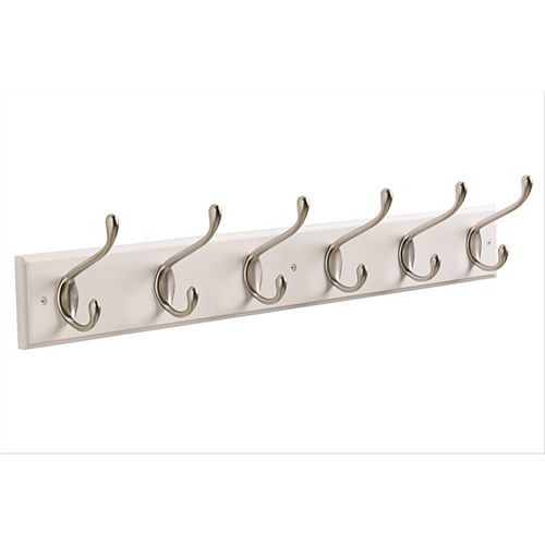 Decorative 6-Hook Rack 27 Inch (686mm) - White/Silver