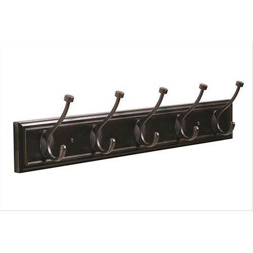 Decorative 5-Hook Rack 27 Inch (686mm) - Mahogany/Oil-Rubbed Bronze