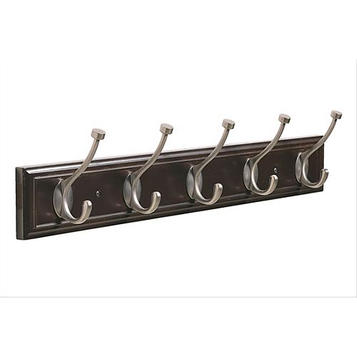Decorative 5-Hook Rack 27 Inch (686mm) - Mahogany/Antique Silver