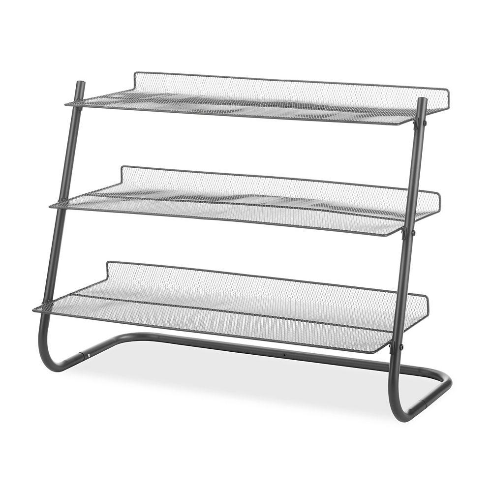 Whitmor Gunmetal 3-Tier Storage Shelving, w/Metal Mesh Shelves