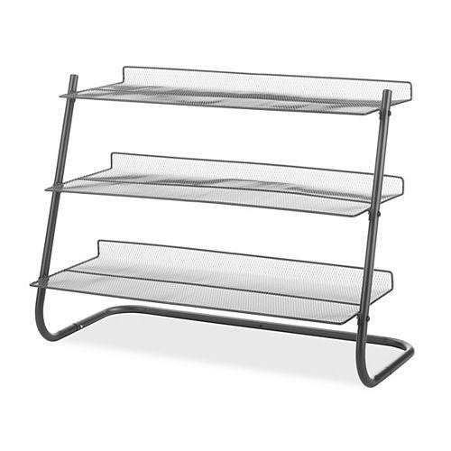 Gunmetal 3-Tier Storage Shelving, w/Metal Mesh Shelves