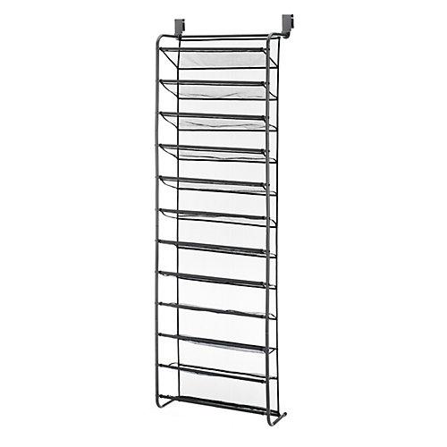 36 Pair Over-The-Door Shoe Rack with Mesh Shelves