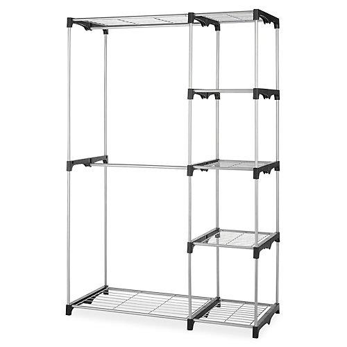 45-inch x 68-inch x 18-inch 4-Shelf Double Rod Metal Frame Closet Organizer