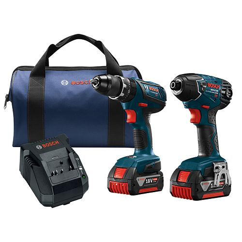 18V Li-Ion Cordless Hammer Drill/Driver & Impact Driver Combo Kit with Two 4.0 Ah Batteries
