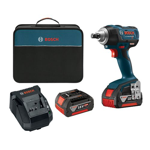 EC 18V Li-Ion Cordless 1/2-inch Ball Detent Impact Wrench with 2 Batteries & Charger