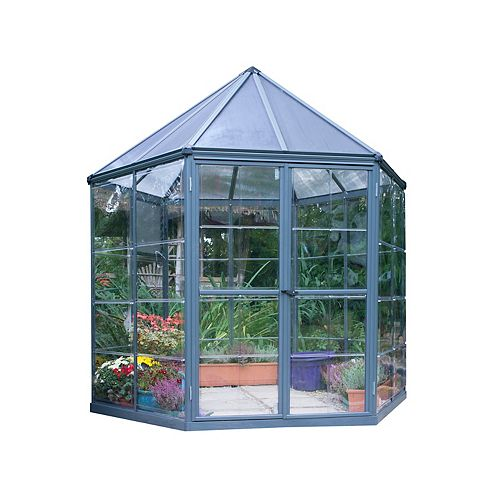 Oasis 8 ft. Hexagonal Aluminum & Polycarbonate Grey Greenhouse
