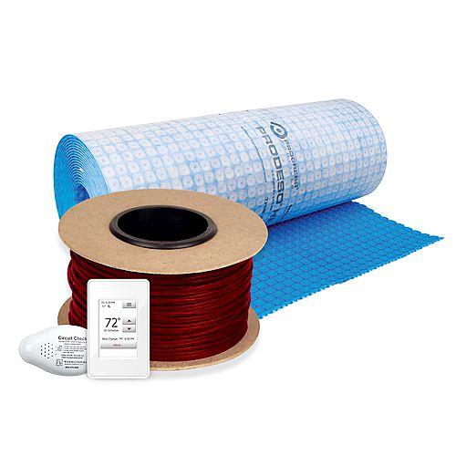 Kit de Plancher chauffant par câble 595 pi 240V avec thermostat et membrane Prodeso (couvre 119 pi2)